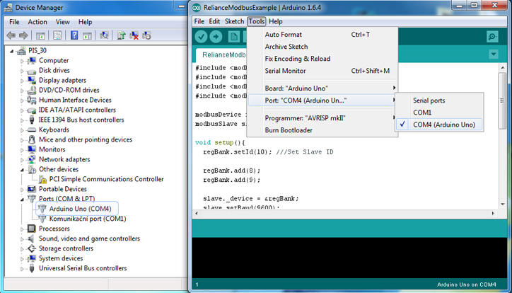 How to connect Arduino to Reliance SCADA