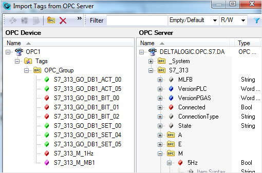 Import of tags from the OPC server