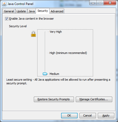 Java Control Panel – Security Level