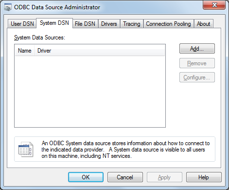 Reriance, ODBC Data Source Administrator