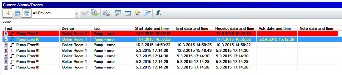 Quick searching in alarm/event, Reliance SCADA