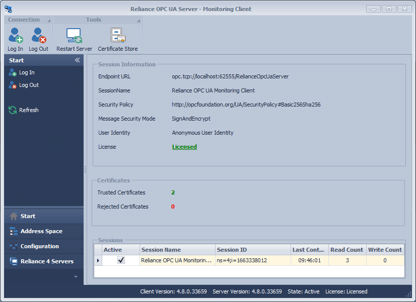 Reliance OPC UA Server – Monitoring Client