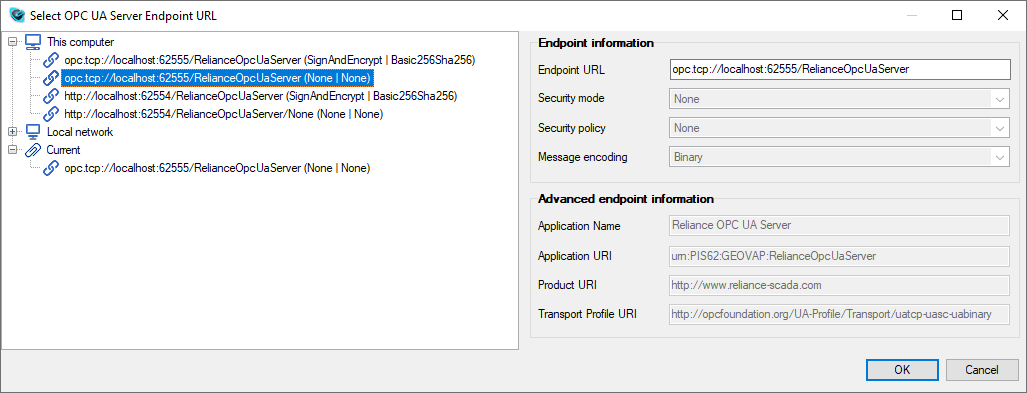 Select OPC UA Server Endpoint URL dialog, Reliance SCADA