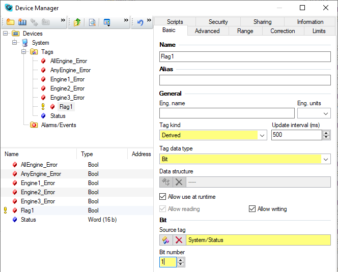 Device Manager – Derived Tags, Reliance SCADA