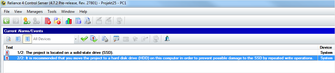 Reliance 4 Control Server – recommendation to move the project to the HDD