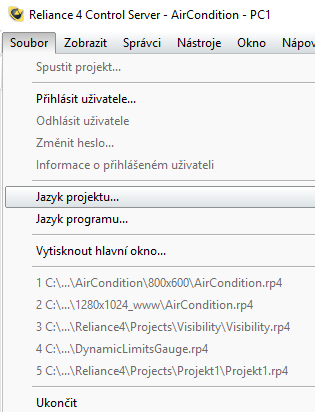 Reliance 4 Control Server  – Jazyk projektu