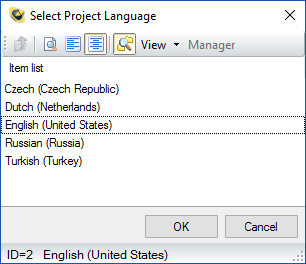 Reliance SCADA �� Select Project Language