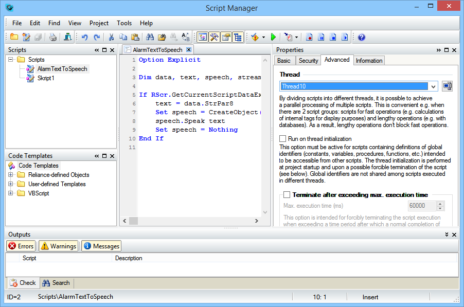 Script Manager, Reliance 4 SCADA