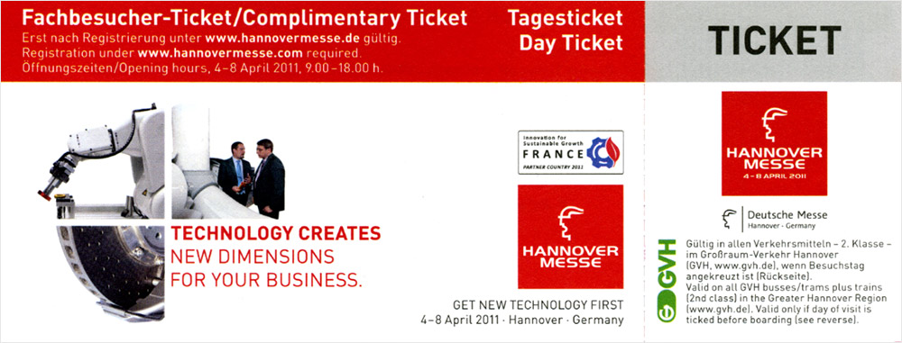 complimentary tickets for hannover messe 2011. Black Bedroom Furniture Sets. Home Design Ideas