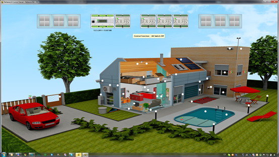 Visualization of a building automation sample project at Hannover Messe 2011