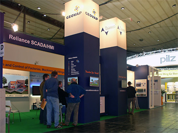 The GEOVAP, spol. s r.o. company booth at Hannover Messe 2011