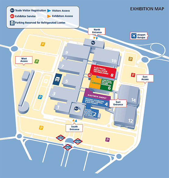 Map of the exhibition halls at the Matelec 2012 Trade Fair