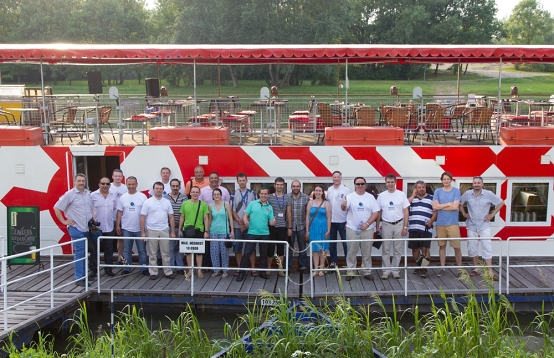 Group photo in front of the riverboat Arnost of Pardubice