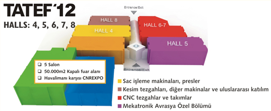 Map of the exhibition halls at TATEF 2012