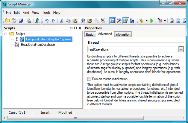 Script Manager – selecting a thread for a script