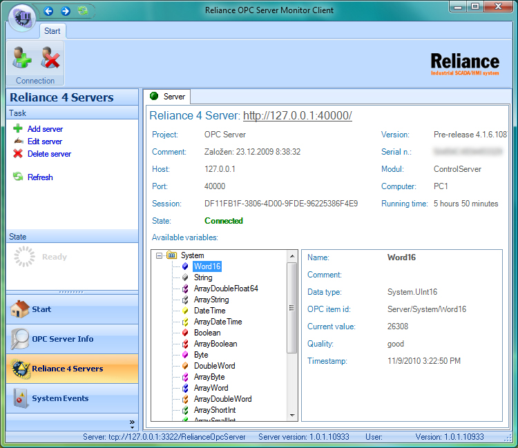 Screenshot of Reliance OPC Server