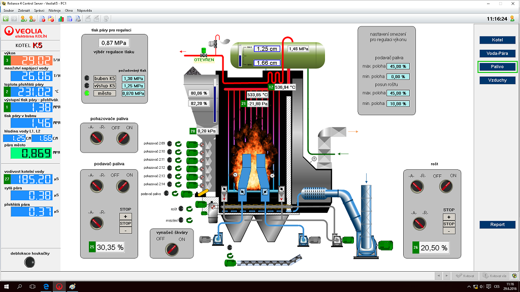 Visualization of the boiler – fuel