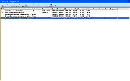 Historical alarms/events