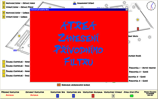 An alarm message about a clogged air-filter