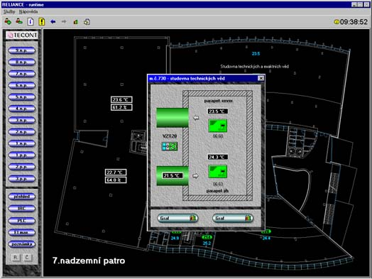 From a floor plan of individual floors, a click of the mouse displays the parameters of selected IRC modules