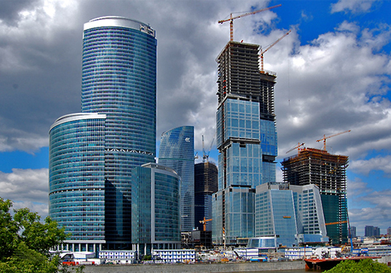A picture of the Moscow-City construction site