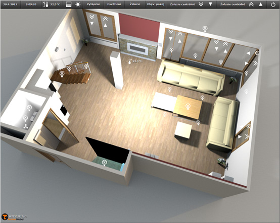 Visualization of the living room (lighting and blinds)