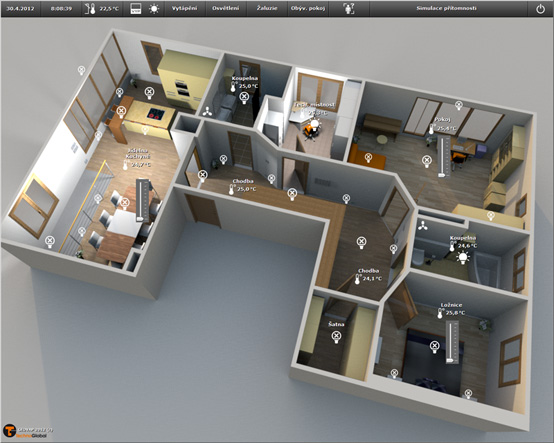 Visualization of the apartment's lighting and heating