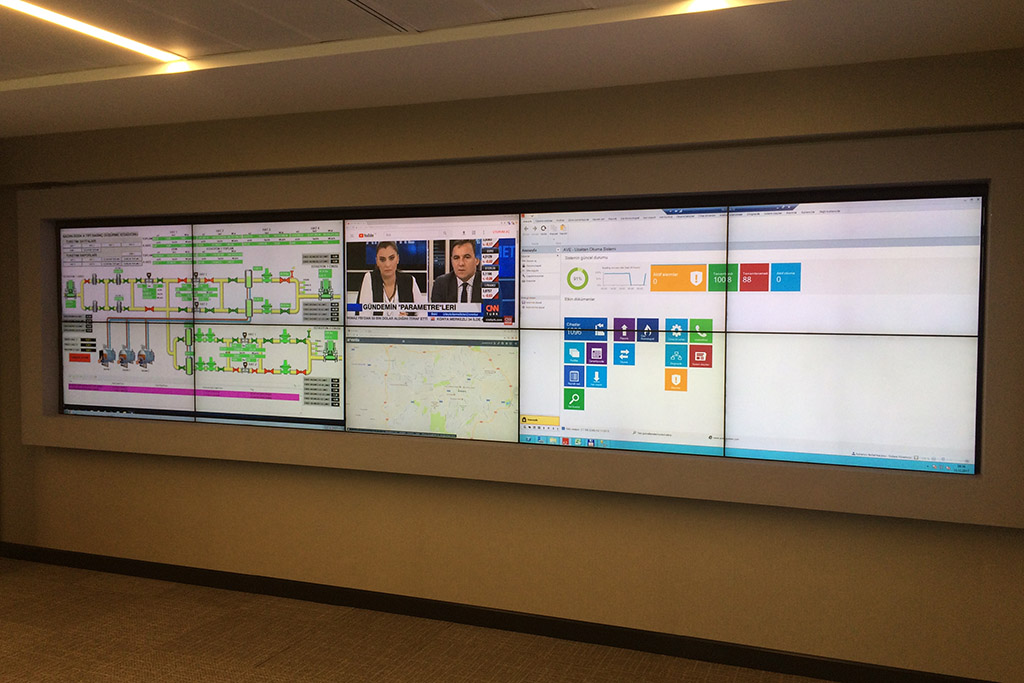 A picture of the gas control room's display wall