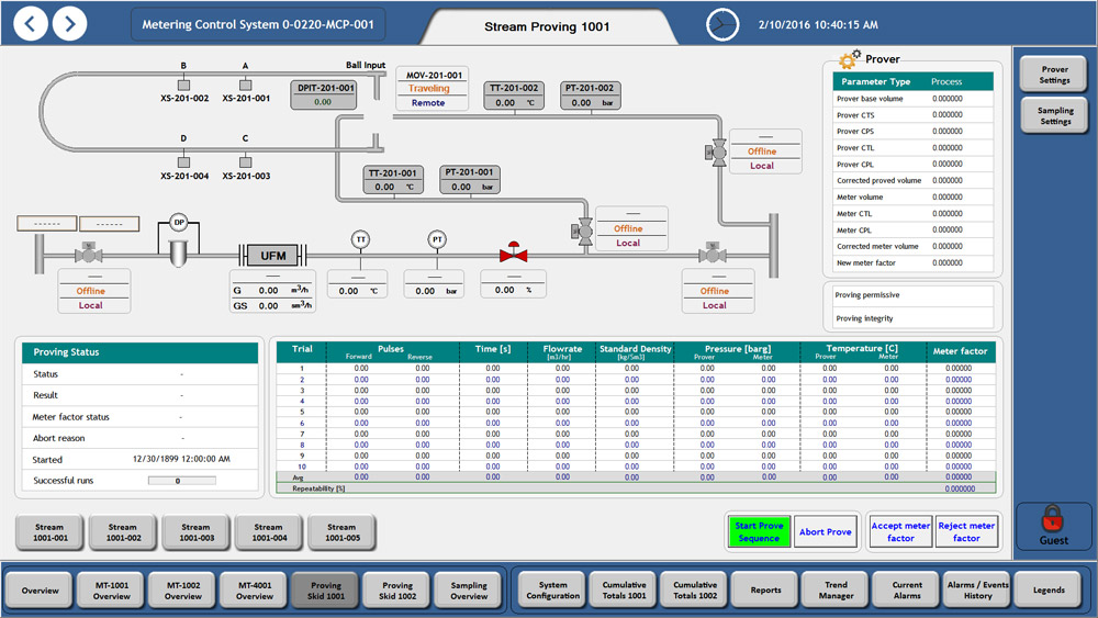 Visualization of stream proving, Reliance SCADA, Genaveh Oil Terminal