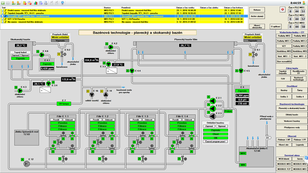 Visualization of the pool system, Reliance SCADA, Klise Swimming Pool