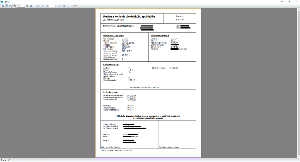 A custom report – an appliance inspection report