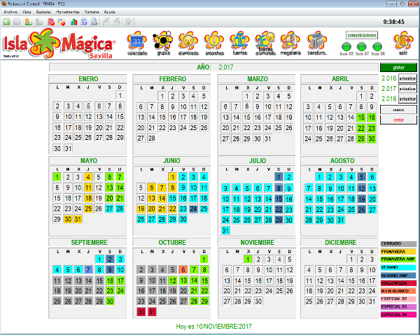 The calendar – allows managing annual schedules, Reliance SCADA