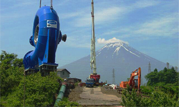 Horizontal Francis turbine (FSH 450 F 295) with Mt. Fuji in the background
