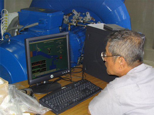 A supervisory computer with the Reliance application in the hydroelectric power station premises