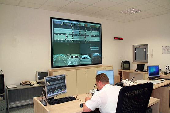 The control room of the Police and Road and Motorway Directorate of the Czech Republic located in Svojkovice