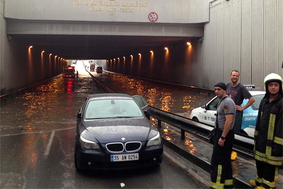 A photo of a flooded underpass, Istanbul