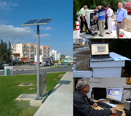 Left to right (clockwise): an autonomous water-supply station equipped with a solar power system, installation of a telemetry station, input calibration, main control room