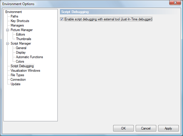 Environment Options – Enable script debugging with external tool