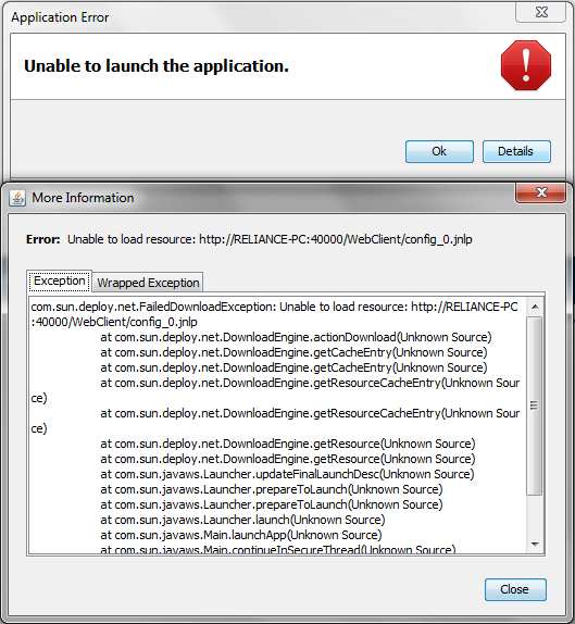 "Reliance 4 Web Client – Chybové hlášení ""Unable to launch the application."""