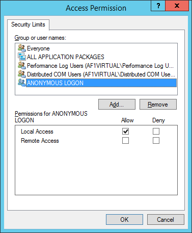 Reliance SCADA, Access Permission, ANONYMOUS LOGON
