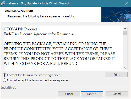 Reliance installation wizard, Licence Agreement