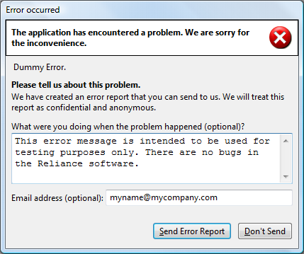 Reliance 4: error message